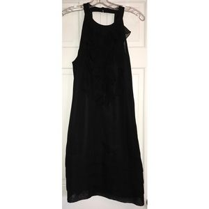 Black Dress with Ruffle Front